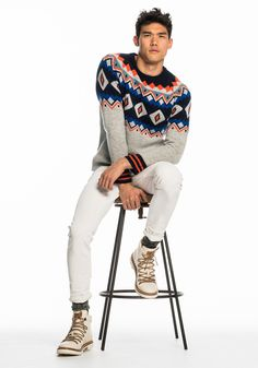 Today's Look: Patterned Jumper. Photo: Scotch & Soda. #ootd #menswear #mensfashion #mensstyle #instafashion #hikingboots #patternedknit