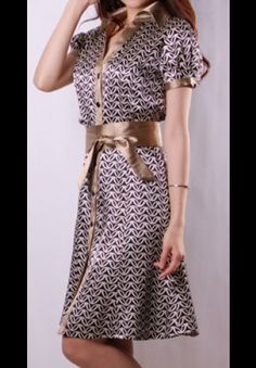 Retro Print Khaki Satin Dress