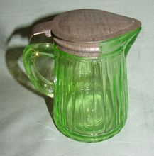 Green Depression Glass Syrup Pitcher, Ribbed, Anchor Hocking