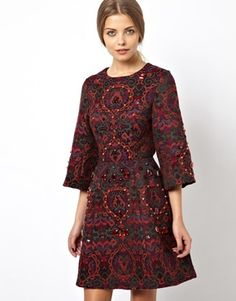 ASOS Red and Black Baroque 3/4 Sleeve Embellished Jacquard Tapestry Skater Dress