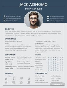 Free Driver Resume Template If you like this design. Check others on my CV template board :) Thanks for sharing! Cv Templates Free Download, Best Free Resume Templates, Resume Format Download, Infographic Resume Template, Teacher Resume Template, Resume Design Template, Graphic Design Lessons, Graphic Design Resume, Cv Design