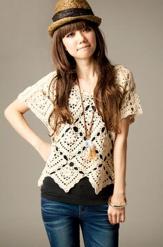 Crochet Square Motif Top, with the full pattern