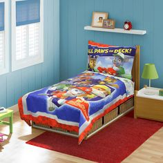 Paw Patrol 4 Piece Toddler Bedding Set includes a quilted, reversible bedspread, fitted sheet, flat sheet and 1 pillow case.  Features full color graphics of characters Chase, Marshall and Rubble from Nick Jr.'s Paw Patrol. Bedspread measures 42 x 58 inches. Fitted sheet measures 28 x 52 inches, flat sheet measures 45 x 60 inches. Pillow case measures 20 x 28 inches. Fits standard size crib and toddler mattress. Made of 100% ultra-soft polyester. Machine washable.