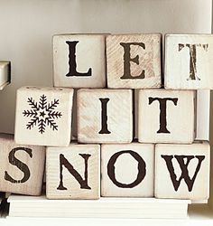 Let it snow decoration; would be easy to recreate by upcycling some old children's building blocks.