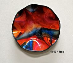 Tejas Art Deco Plate/Round/Pigskin Glass PlateCanvas Backing-Screen Mesh/Water-base paint with foils/Recycled Window Glass  Handmade in the US  Artists: Manuel Silva and Robert Ornelas $150