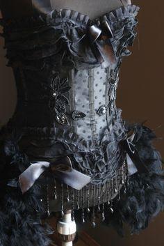 KALI Black Halloween Steampunk Burlesque Corset by olgaitaly,