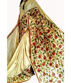 Pastel Handloom Pure Kantha Tussar Silk Saree