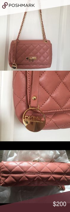 DKNY Women's Shoulder Bag Gansevoort Leather Rose pink, NWT, mint condition, come with dust bag. From home with no pets. DKNY tag still in inside. Dkny Bags Shoulder Bags