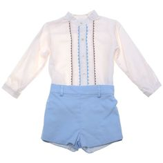 Classic Spanish baby boys smart outfit for your baby! Comes with an ivory shirt and pair of blue shorts: The top is decorated by blue and brown scallop lace Spanish Baby Clothes, Kids C, Smart Outfit, Blue Shorts, Baby Boys, Boy Outfits, Ivory, Rompers, Belt