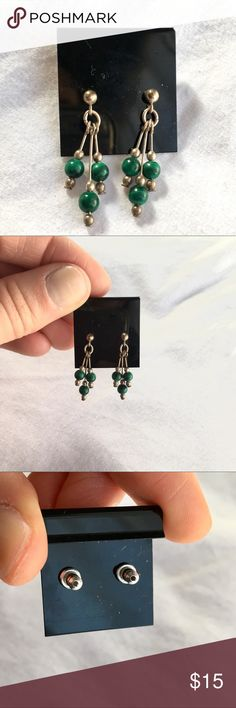 NWT Natural Malachite Stone Earrings Beautiful, delicate drop earrings featuring natural malachite stones and silver tone metal. Brand new, never worn! Jewelry Earrings