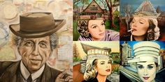 Architect Frank Lloyd Wright surrounded by female icons wearing his buildings: Judy Garland modeling the FLW Home and Studio in Oak Park, Marlene Dietrich flaunting the Beth Shalom Synagogue, in Pennsylvania, Grace Kelly sporting the David Lloyd Wright House in Phoenix, and Audrey Hepburn wearing the Guggenheim Museum.(Art by Karen Robb)