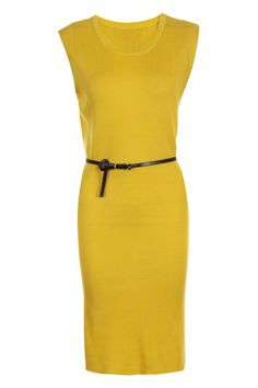 Belted Yellow Longline Dress. Description Yellow longline dress, featuring solf hand knitted fabric, scoop neck and sleeveless styling,longline cut and a slim belt included. Fabric Acrylic Washing Hand Wash. #Romwe