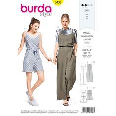 Misses Jumpsuit in Various Lengths Burda Sewing Pattern 6408. Size 6-16.