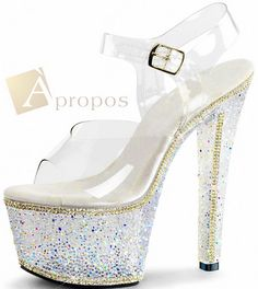 Pantolette Sandale 10cm Damen Acryl Metall Strass High Heel Plateau Klar Weiß