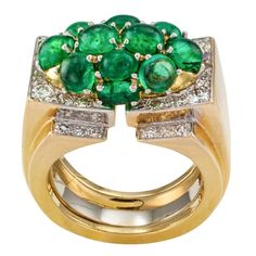 David Webb Emerald Diamond Gold Cocktail Ring | From a unique collection of vintage cocktail rings at https://www.1stdibs.com/jewelry/rings/cocktail-rings/