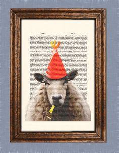 SPRING SALE Party Sheep Art Print Art Giclee Print Acrylic Painting Illustration Sheep Picture Party Hat Party Blower wall art wall decor W. $7.50, via Etsy.