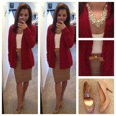 Neutral colors, pearls, a bow and a pop of red for today! Love this, perfect outfit for the office!