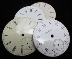 Vintage Antique Watch Dials Steampunk Faces Parts Enamel Porcelain Metal BF 79