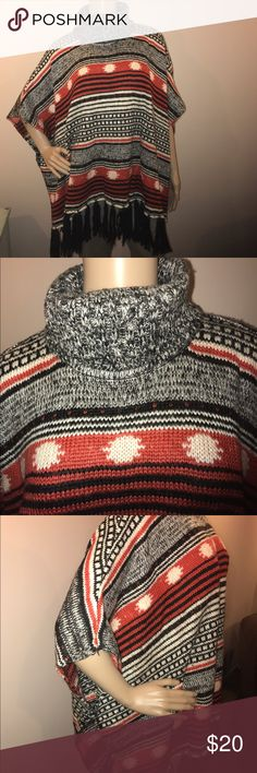 FOREVER 21 Poncho Red, Black and White with fringe across the bottom. Sleeves have a stitched opening with open sides. Turtleneck collar. One size. Forever 21 Sweaters Shrugs & Ponchos