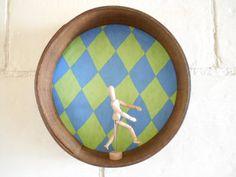 Vintage sieve with green blue diamonds vintage by Birdycoconut