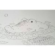【tear_monster】さんのInstagramをピンしています。 《Moving forest - Crocodile うごく森 - ワニ  #movingforest  #crocodile #ワニ #forest #森 #tree #木 #moon #月 #cloud #雲 #wind #風  #frockofbirds #鳥の群れ #イラストレーション #イラスト #illustration #drawing  #art #artinspires #artislife》
