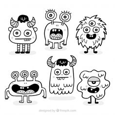 Lade Packung Mit Handgezeichneten Monstern kostenlos herunter Pack of hand drawn monsters free vector Free vector character Doodle Monster, Monster Drawing, Cute Monsters Drawings, Cartoon Drawings, Easy Drawings, How To Draw Monsters, Funny Monsters, Cartoon Monsters, Doodle Art Designs
