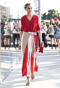 For the DVF show, Olivia stuck to a bright color story, adding interest to a red knit with a colorblocked, ...