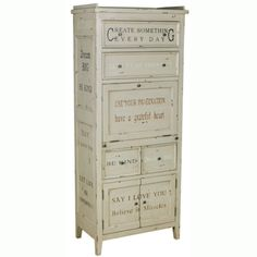 @Overstock - This hand painted distressed antique cream finish accent storage cabinet features a large variety of storage solutions. The chest offers elegant antique pewter finished hardware.http://www.overstock.com/Home-Garden/Hand-painted-Distressed-Antique-Cream-Finish-Accent-Storage-Cabinet/7731298/product.html?CID=214117 $849.99