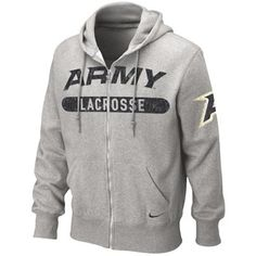 """LAX Vintage Hood    80% Cotton 20% Polyester grey hood with crackle black """"ARMY"""" over grey """"LACROSSE"""" lined in black crackled line with black Nike® swoosh on lower left front with full color crackle army """"A"""" on left sleeve"""