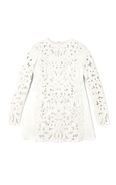 Valentino Agnello Long Sleeved A-Line Cut Out Embroidered Dress