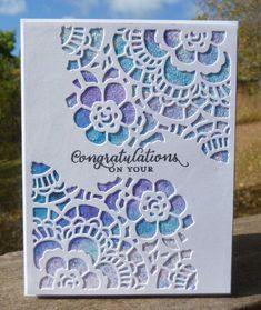 "4.25 x 5.5"" card designed & made by Karen Margotta. Used Tim Holtz Mixed Media #2 dies, Ken Oliver color bursts in Violet and Unltramarine Blue, Spray adhesive, glitter and StampinUp Wild About Flowers for sentiment stamp."