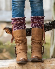 Tahoe Tassel Boho Boot Socks Beige / Burgundy Slouch Top Over The Knee Thick Waffle Knit Camel Vegan Leather Tassles Boot Cuffs, Boot Socks, Mid Calf Boots, Knee High Boots, Grace And Lace, Boho Boots, Pretty Shoes, Leather Tassel, Waffle Knit