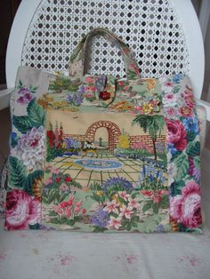Nostalgia at the Stone House Vintage Crafts, Vintage Bags, Vintage Handbags, Vintage Sewing, Vintage Linen, Hand Embroidery Designs, Vintage Embroidery, Diy Bags Purses, Art Bag