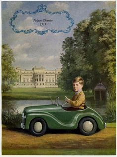 1953 ~ Prince Charles in his pedal car. ~ One of thousands of gifts given to the Prince by British manufacturers during his childhood, the aquamarine pedal car was said to be one of his favourite toys.