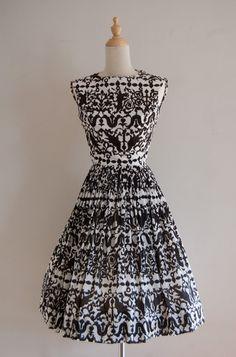 1960s Serbin of Florida black and white brocade print dress by inheritedattire, $68.00