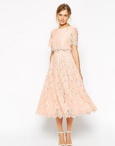 ASOS+Lace+Crop+Top+Midi+Prom+Dress