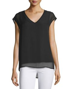Casual Couture V-Neck Cap-Sleeve Blouse, Black New offer @@@ Price :$118 Price Sale $69
