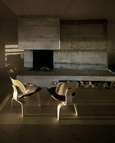 Eames and concrete fireplace