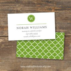 Mommy Calling Card or Business Card - Pretty with a Pattern Monogram - Digital Download. $11.50, via Etsy.