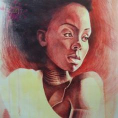 Painting of a Nigerian woman chaste and innocent deep in thoughts of the future