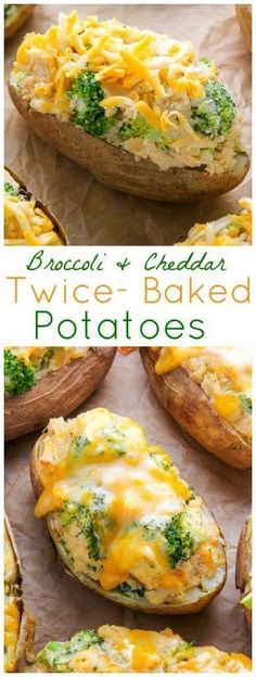 Broccoli and Cheddar Twice-Baked Potatoes! SO DELICIOUS! #potatoes #broccoli #cheddar