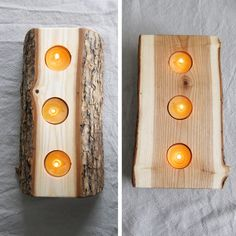 Candle Holder - split log reversible bark on wood candle holder with pure beeswax candles..