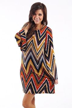 Scalloped Chevron Dress $44.00 This dress features every Fall color imaginable! The material is super soft and the print is right on trend:) We belted ours to add a an accessory!   Runs a little big, Miranda is wearing the small.    From the shoulder to the hem:  All sizes-37""