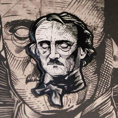 "Edgar Allan Poe Hard Enamel Pin 1.5"" on backing card – miles to go clothing"
