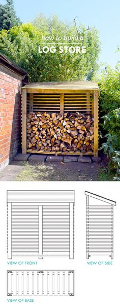 Looking for a fun and creative DIY Outdoor Firewood Rack Idea? Check out 16 easy outdoor firewood rack ideas in this post. Outdoor Firewood Rack, Firewood Storage, Firewood Holder, Outdoor Storage, Storage Shed Organization, Storage Ideas, Attic Storage, Organizing Ideas, Wooden Storage Sheds