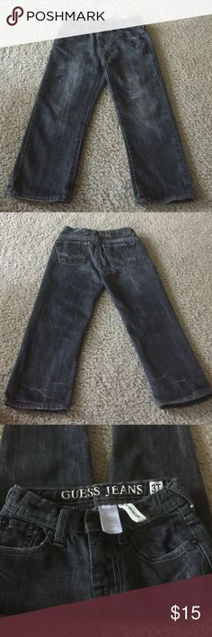 GUESS Brit Rocker jeans They are slim straight with distress details. They are gently used and are like new. They have an an adjustable elastic band inside with buttons. If you bundle you can get it for $10. Can't be combined with other offers. GUESS Bottoms Jeans