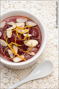 Almond Panna Cotta with Cherries in Orange Syrup