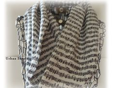 Music Infinity scarf music note scarf white and by UrbanScarfs, $18.00