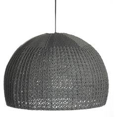"Fab Knit Dome Pendant 20"" Gray ($38) ❤ liked on Polyvore featuring home, lighting, ceiling lights, grey, cord lamp, light bulb lights, light bulb lamp, grey light and colored lights"