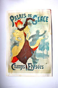 Adding some perfect vintage color to your home! - Large Jules Cheret 1893 Champs Elysees Paris Palais de Glace Poster - French Lithograph reprint